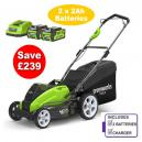 Greenworks G40LM45K2X Cordless 40v 45cm Mower cw 2 X Batteries and Charger